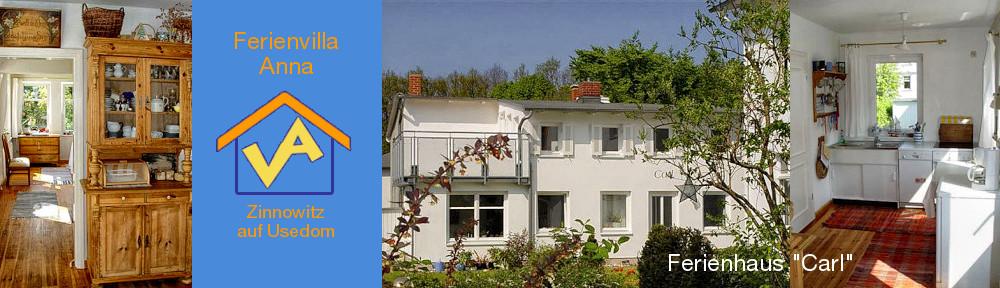Ferienhaus Carl: links: Blick von der Wohnküche in den Wohnraum, Mitte: Außenansicht Ferienhaus Carl im Garten der Ferienvilla Anna, rechts: Blick in die Küche